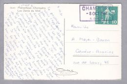 Heimat VS CHAMPERY 1961-10-08 Bahnstations-stempel Auf AK - Lettres & Documents