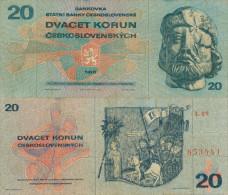 Banknote 20 Kronen Tschechoslowakei 1970 ČSSR Czechoslovakia Československo KCS Note Geldschein Papiergeld Zeh - Tschechoslowakei