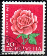 SWITZERLAND 1964 Children´s Floral Designs- 20c.+10c Rose  FU SOME PAPER ATTACHED - Gebraucht