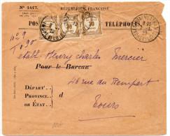 1929 - ENVELOPPE De SAVIGNE SUR LATHAN (INDRE ET LOIRE) Avec TAXE RECOUVREMENTS - Storia Postale