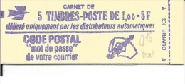 N° 1892 C1 -   MARIANNE DE BEQUET  5 Timbres  -   1f Rouge  -  Code Postal - Carnets