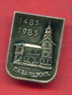 F1259 / Pazardzhik - Was Founded By Tatars 1485 - 1985 - Clock Tower - Bulgaria Bulgarie Bulgarien Bulgarije - Badge Pin - Steden
