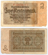 Banknote 2 Rentenmark Rentenbankschein 1937 Note Geldschein Deutsches Reich Geld Mark GERMANY Papiergeld Money - Altri