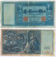 Banknote 100 Mark 1910 Note Geldschein Reichsbanknote Deutsches Reich GERMANY Deutschland Kaiserreich Papiergeld - 1871-1918: Deutsches Kaiserreich