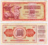 Banknote 100 Dinar Jugoslawien Yugoslavia Jugoslavija Note Geldschein Dinarjev Schein Papiergeld Paper Money Geld - Jugoslawien
