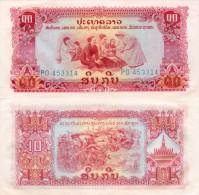 Banknote 10 Kip Laos LAK Lao Geldschein Asien Asia Geld Indochina Indochine Note Paper Money Asien Asia Laotische - Laos