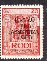 EGEO OCCUPAZIONE TEDESCA 1943  N. 120 ROSSO  NUOVO** 1 VALORE - Egée