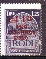 EGEO OCCUPAZIONE TEDESCA 1943  N. 124 AZZURRO NERO  NUOVO** 1 VALORE - Egée