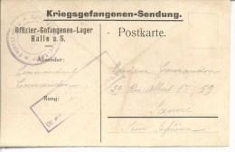 Kriegsgefangenensendung Sur Carte Dédiée Du Camp De Halle A.S. Cachet Du Camp Et Censure Pour Sanvic (Le Havre) - Marcophilie (Lettres)