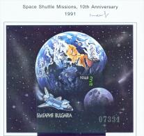 BULGARIA  -  1991  Space Shuttles  Miniature Sheet  Imperf  Unmounted Mint - Neufs
