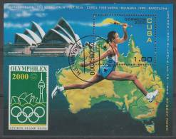 BLOC OBLITERE DE CUBA - ATHLETE PORTANT TORCHE OLYMPIQUE SUR CARTE D´AUSTRALIE N° Y&T 163 - Jeux Olympiques