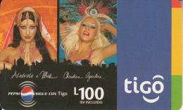 HONDURAS - Christina Aguilera, TIGO Prepaid Card L100, Exp.date 09/07, Used - Honduras