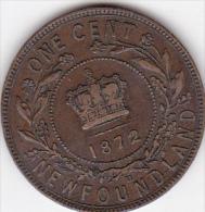 CANADA / NEWFOUNDLAND. ONE CENT 1872 H  . VICTORIA - Canada