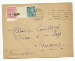 1945: Obl. De Fortune  Linéaire De Saumur Sur Lettre De Paris, 1F50 Arc De Triomphe - WW II