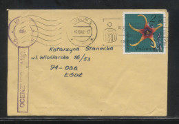 POLAND 1982 LETTER FROM LUBLIN TO LODZ CENSOR MARKING STATION NO 130 CACTUS STAMP - 1944-.... República
