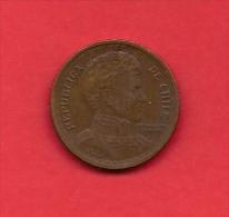 CHILE 1944, Circulated Coin XF, 1 Peso Copper  KM 179 C1874 - Chili