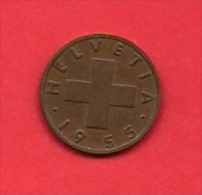 SWITZERLAND, 1955,  Circulated Coin XF, 1 Rap, Bronze KM46, C1885 - Switzerland