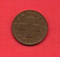 SWITZERLAND, 1955,  Circulated Coin XF, 1 Rap, Bronze KM46, C1885 - Zwitserland