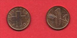SWITZERLAND, 1970-1980,  Circulated Coin XF, 1 Rap, Bronze KM46, C1886 - Switzerland