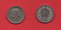 SWITZERLAND, 1955-1992,  Circulated Coin XF,20 Rappen, Copper Nickel, KM29a, C1898 - Switzerland