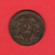 SWITZERLAND, 1851,  Circulated Coin XF, 2 Rappen, Bronza, KM4, C1901 - Suiza