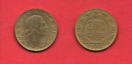 ITALY, 1977-1995, Circulated Coin XF, 200 Lire, Alu-bronza, KM105, C1908 - Italy