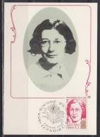 = Carte Postale Simone Weil 1er Jour Paris 10 11 1979 N°2032A Philosophe Française - Célébrités