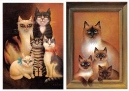 Lot De 2 Cartes : Les Chats Au Musée - Zofia Szalowska - Naifs Et Primittifs Chat Cat Cats Gato - Cats