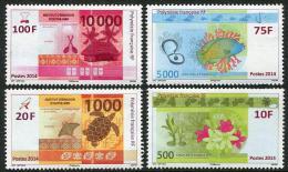 Polynésie Française 2014 - Faune Et Flore, Tortues, Nouveaux Billets De Banque - 4 Val Neufs // Mnh - Polynésie Française