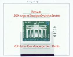 BULGARIA  -  1991  Brandenburg Gate  Miniature Sheet  Imperf  Unmounted Mint - Ungebraucht