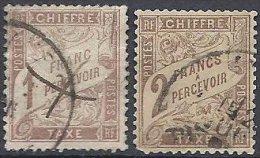 FRANCE -  1 & 2 F. Marron Oblitérés - Taxes