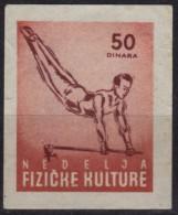 1950's Yugoslavia - Gymnastics / Horizontal Bar - Sport Week - Membership / Charity Stamp Label Vignette Cinderella Used - Gymnastik
