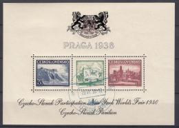 Czechoslovakia 1939, Block For New York Fair, Very Nice CDS Cancel, Never Hinged