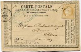 !!! CARTE PRECURSEUR CERES CACHET DE BOURGUEIL ( INDRE ET LOIRE ) 1873 - Entiers Postaux