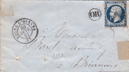 1857 ISERE, LETTRE, PC 469 BOURG D'OISANS Pour BRIANCON, OR   /5321 - Postmark Collection (Covers)