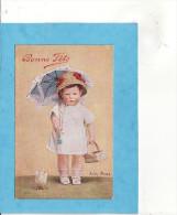 X 703) 6)   Enfant  ET POUSSIN  Bonne Fete Illustrateur : Signature ??? 1934  ( TRES TRES BON ETAT) - Children's Drawings