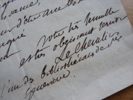 Jean Baptiste LECHEVALIER (1752-1836) - Astronome, Littérateur - Bibliothèque SAINTE GENEVIEVE - LAS à Portalis - Autographes