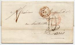 """1852 - LETTRE De SANTANDER (CANTABRIA) Pour PARIS Avec CACHET D´ENTREE """"ESPAGNE PAR ST JEAN DE LUZ"""" - Lettres & Documents"""