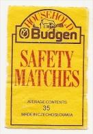 Czechoslovakia Matchbox Label - Household Budgen Safety Matches - Cajas De Cerillas - Etiquetas