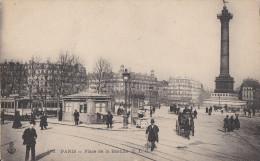 PARIS XI  Place De La BASTILLE Animée  Station Des TRAMWAYS  Attelages Colonne De Juillet - District 11