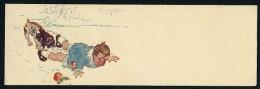 Boy, Dog, Apple - Small Size Postcard Dimension: 14x4.5 Cm ----- Postcard Not Traveled - Enfants