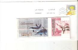 """ENVELOPPE LETTRE VERTE  AVEC TIMBRE """"ENFANTS DE PAIX"""" ANNEE 2013 OBLITERE - France"""