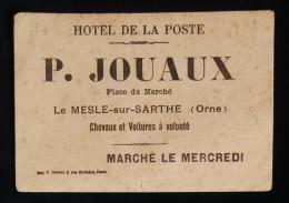NORMANDIE HOTEL DE LA POSTE P. JOUAUX Place Du Marché LE MESLE-sur-SARTHE ( Orne) Buvard Publicitaire - Buvards, Protège-cahiers Illustrés