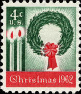 1962 USA Wreathes And Candles Contemporary Christmas Stamp Sc#1205 Candle Light 1st US Christmas Stamp - Sciences
