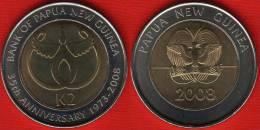 "Papua New Guinea 2 Kina 2008 Km#51 ""Bank Anniversary"" BiMetallic UNC - Papoea-Nieuw-Guinea"