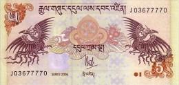 BHOUTAN   5 Ngultrum  Daté De 2006   Pick 28          ***** BILLET  NEUF ***** - Bhután