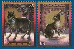 Latvia 2009 Mih. 769/70 Fauna. Animals. Wolf. Hare MNH ** - Latvia