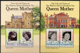 Mother Queen Elisabeth 1985 Vincent Block 19+Grenadinen Bl.12 ** 6€ Mädchen/85.Geburtstag Bloque Hojita Sheet Bf Caribic - St.Vincent (1979-...)