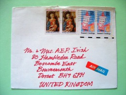 USA 1984 Cover To England - Children Drawings - Christmas - Lippi Painting Virgin And Child - Etats-Unis