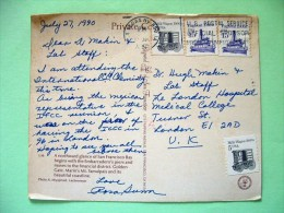 "USA 1990 Postcard ""San Francisco"" Las Vegas To England - Milk Wagon - Tugboat Boat - Etats-Unis"